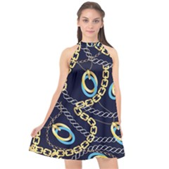 Luxury Chains And Belts Pattern Halter Neckline Chiffon Dress  by tarastyle