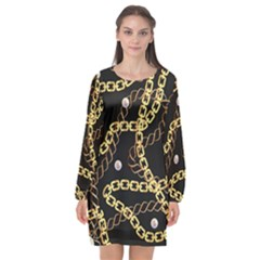 Luxury Chains And Belts Pattern Long Sleeve Chiffon Shift Dress  by tarastyle