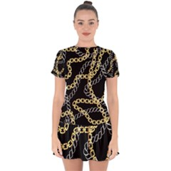Luxury Chains And Belts Pattern Drop Hem Mini Chiffon Dress by tarastyle