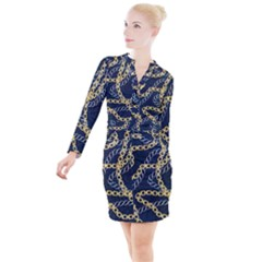 Luxury Chains And Belts Pattern Button Long Sleeve Dress by tarastyle