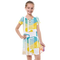 Silhouette Cityscape Building Icon Color City Kids  Cross Web Dress by Sudhe