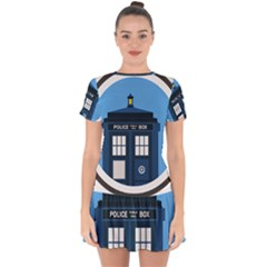 Doctor Who Tardis Drop Hem Mini Chiffon Dress by Sudhe