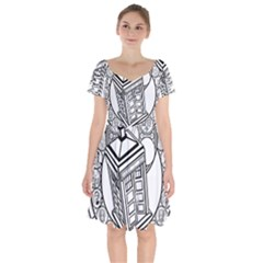 Bad Wolf Tardis Art Drawing Doctor Who Short Sleeve Bardot Dress by Sudhe