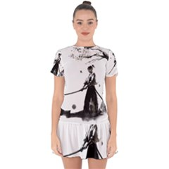 Japan Samurai Drawing   Warrior Drop Hem Mini Chiffon Dress