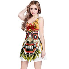 Bali Barong Mask Euclidean Vector Chiefs Face Reversible Sleeveless Dress