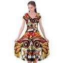 Bali Barong Mask Euclidean Vector Chiefs Face Cap Sleeve Wrap Front Dress View1