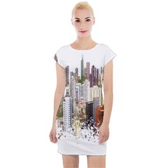 Hong Kong Skyline Watercolor Painting Poster Cap Sleeve Bodycon Dress