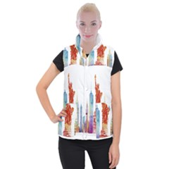 New York City Poster Watercolor Painting Illustrat Women s Button Up Vest by Sudhe