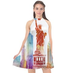 New York City Poster Watercolor Painting Illustrat Halter Neckline Chiffon Dress  by Sudhe
