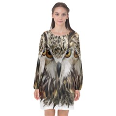 Vector Hand Painted Owl Long Sleeve Chiffon Shift Dress  by Sudhe