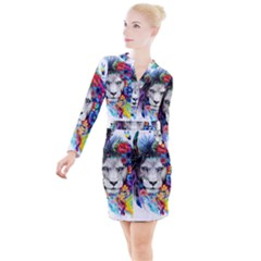 Art Drawing Poster Painting The Lion King Button Long Sleeve Dress