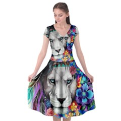 Art Drawing Poster Painting The Lion King Cap Sleeve Wrap Front Dress