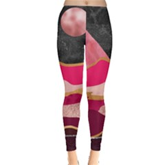 Pink And Black Abstract Mountain Landscape Leggings  by charliecreates