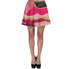 Pink And Black Abstract Mountain Landscape Skater Skirt by charliecreates