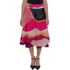 Pink And Black Abstract Mountain Landscape Perfect Length Midi Skirt by charliecreates