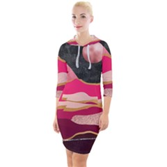 Pink And Black Abstract Mountain Landscape Quarter Sleeve Hood Bodycon Dress by charliecreates