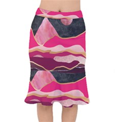 Pink And Black Abstract Mountain Landscape Mermaid Skirt by charliecreates