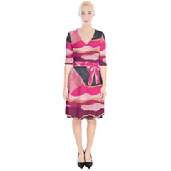 Pink And Black Abstract Mountain Landscape Wrap Up Cocktail Dress by charliecreates