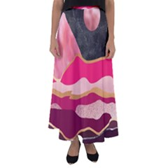 Pink And Black Abstract Mountain Landscape Flared Maxi Skirt by charliecreates