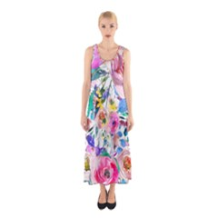 Lovely Pinky Floral Sleeveless Maxi Dress by wowclothings