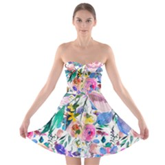 Lovely Pinky Floral Strapless Bra Top Dress by wowclothings