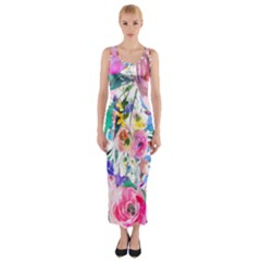 Lovely Pinky Floral Fitted Maxi Dress by wowclothings