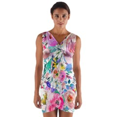 Lovely Pinky Floral Wrap Front Bodycon Dress by wowclothings