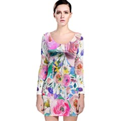Lovely Pinky Floral Long Sleeve Velvet Bodycon Dress by wowclothings