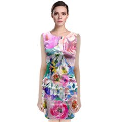 Lovely Pinky Floral Classic Sleeveless Midi Dress by wowclothings