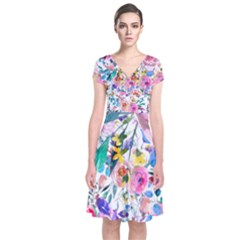 Lovely Pinky Floral Short Sleeve Front Wrap Dress by wowclothings