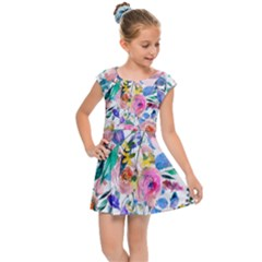 Lovely Pinky Floral Kids  Cap Sleeve Dress by wowclothings