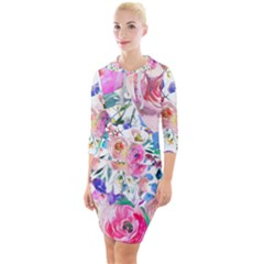 Lovely Pinky Floral Quarter Sleeve Hood Bodycon Dress by wowclothings