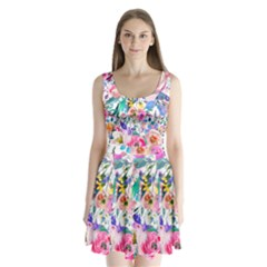 Lovely Pinky Floral Split Back Mini Dress  by wowclothings