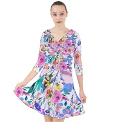 Lovely Pinky Floral Quarter Sleeve Front Wrap Dress by wowclothings
