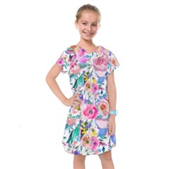Lovely Pinky Floral Kids  Drop Waist Dress by wowclothings