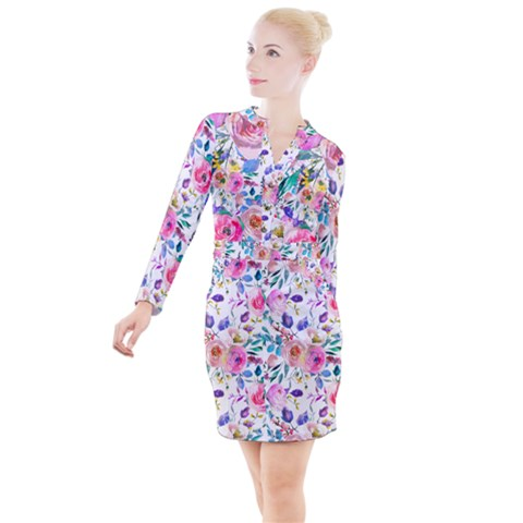 Lovely Pinky Floral Button Long Sleeve Dress