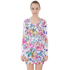Lovely Pinky Floral V Neck Bodycon Long Sleeve Dress by wowclothings