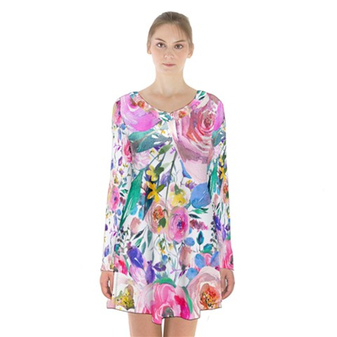 Lovely Pinky Floral Long Sleeve Velvet V-neck Dress