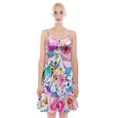 Lovely Pinky Floral Spaghetti Strap Velvet Dress by wowclothings