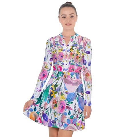 Lovely Pinky Floral Long Sleeve Panel Dress