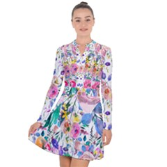 Lovely Pinky Floral Long Sleeve Panel Dress by wowclothings