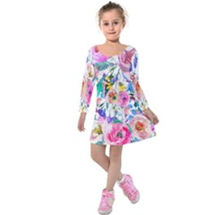 Lovely Pinky Floral Kids  Long Sleeve Velvet Dress by wowclothings