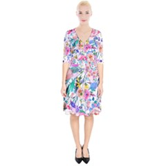Lovely Pinky Floral Wrap Up Cocktail Dress by wowclothings