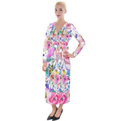 Lovely Pinky Floral Velvet Maxi Wrap Dress by wowclothings