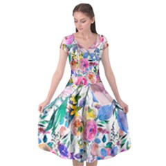 Lovely Pinky Floral Cap Sleeve Wrap Front Dress by wowclothings