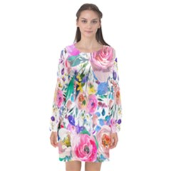 Lovely Pinky Floral Long Sleeve Chiffon Shift Dress  by wowclothings