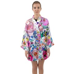 Lovely Pinky Floral Long Sleeve Kimono Robe by wowclothings