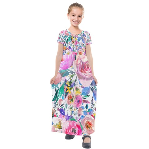 Lovely Pinky Floral Kids  Short Sleeve Maxi Dress