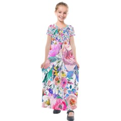 Lovely Pinky Floral Kids  Short Sleeve Maxi Dress by wowclothings