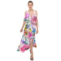 Lovely Pinky Floral Maxi Chiffon Cover Up Dress by wowclothings
